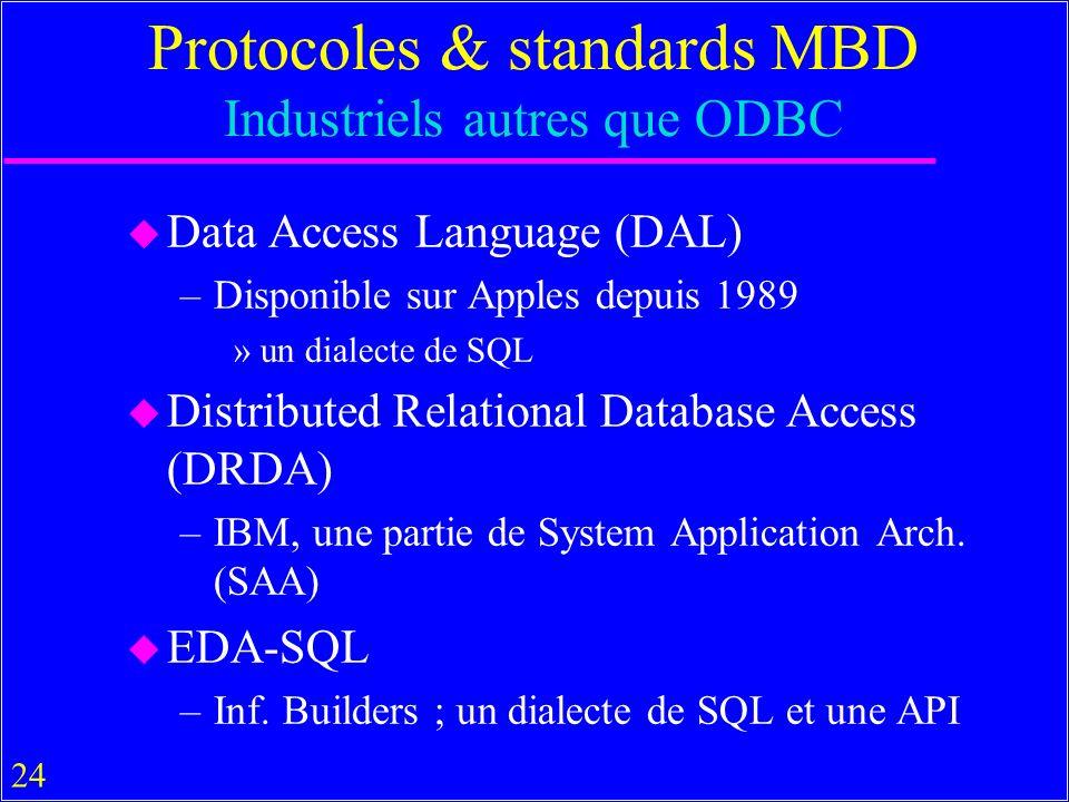 24 Protocoles & standards MBD Industriels autres que ODBC u Data Access Language (DAL) –Disponible sur Apples depuis 1989 »un dialecte de SQL u Distri