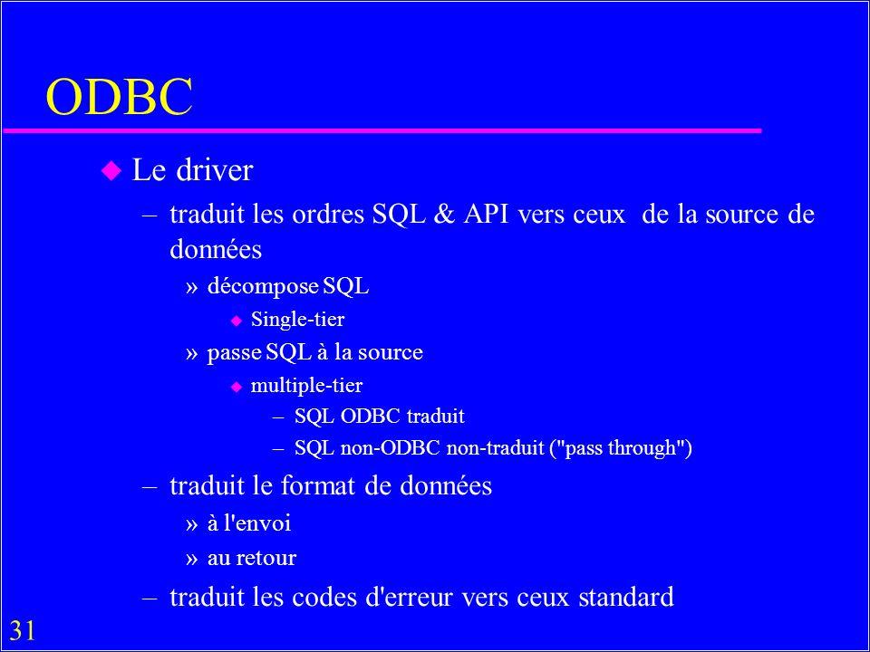 31 ODBC u Le driver –traduit les ordres SQL & API vers ceux de la source de données »décompose SQL u Single-tier »passe SQL à la source u multiple-tier –SQL ODBC traduit –SQL non-ODBC non-traduit ( pass through ) –traduit le format de données »à l envoi »au retour –traduit les codes d erreur vers ceux standard