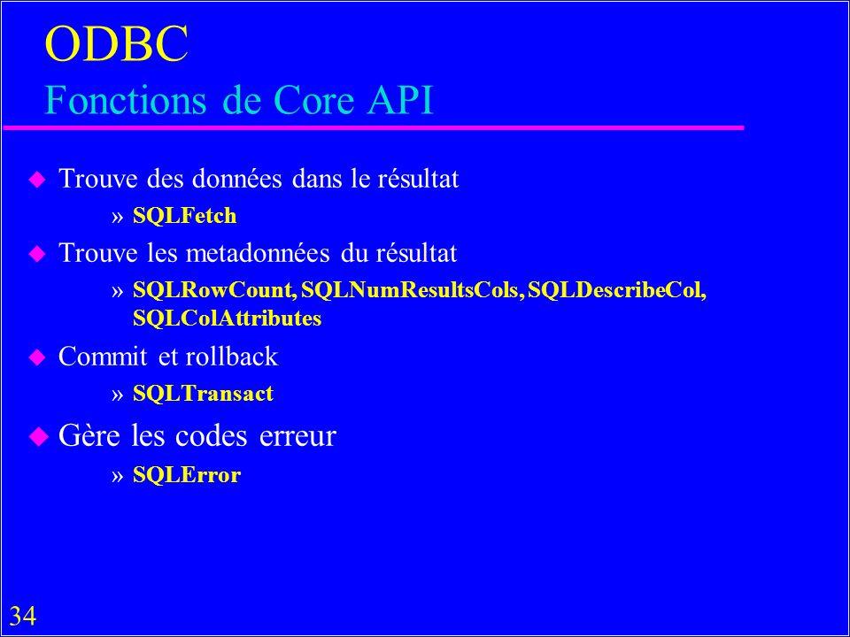 34 ODBC Fonctions de Core API u Trouve des données dans le résultat »SQLFetch u Trouve les metadonnées du résultat »SQLRowCount, SQLNumResultsCols, SQLDescribeCol, SQLColAttributes u Commit et rollback »SQLTransact u Gère les codes erreur »SQLError