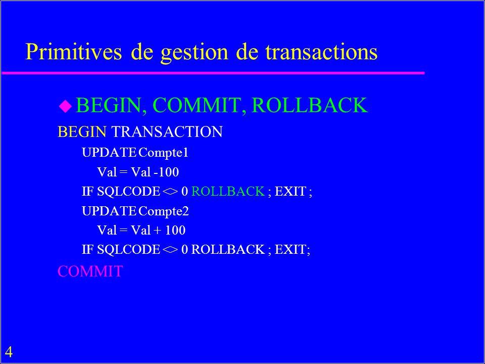 35 ODBC Fonctions Level1 API u Fonctions de Core API avec un ordre suppl.
