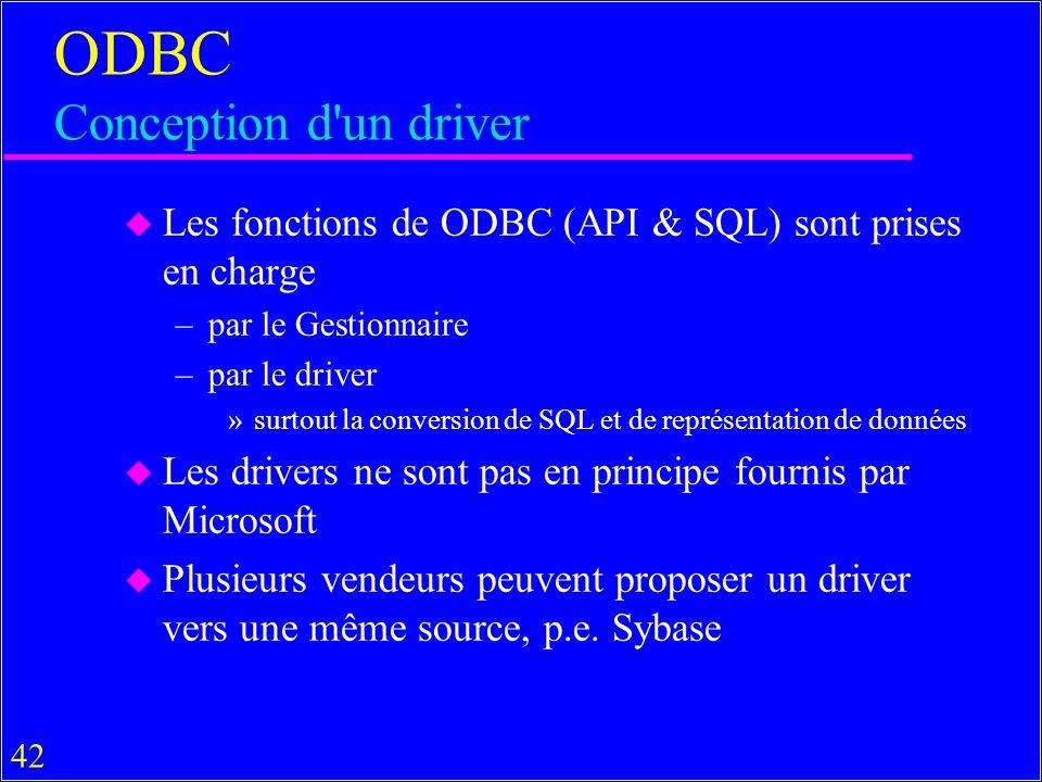 42 ODBC Conception d un driver u Les fonctions de ODBC (API & SQL) sont prises en charge –par le Gestionnaire –par le driver »surtout la conversion de SQL et de représentation de données u Les drivers ne sont pas en principe fournis par Microsoft u Plusieurs vendeurs peuvent proposer un driver vers une même source, p.e.