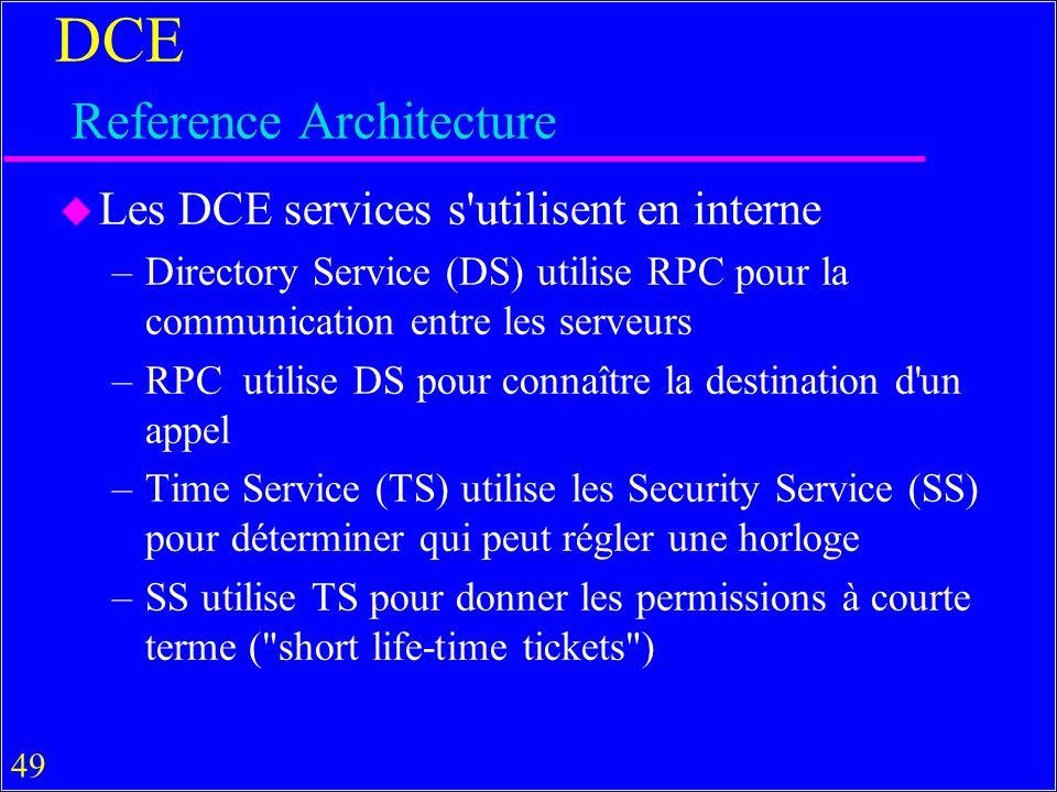 49 DCE Reference Architecture u Les DCE services s utilisent en interne –Directory Service (DS) utilise RPC pour la communication entre les serveurs –RPC utilise DS pour connaître la destination d un appel –Time Service (TS) utilise les Security Service (SS) pour déterminer qui peut régler une horloge –SS utilise TS pour donner les permissions à courte terme ( short life-time tickets )