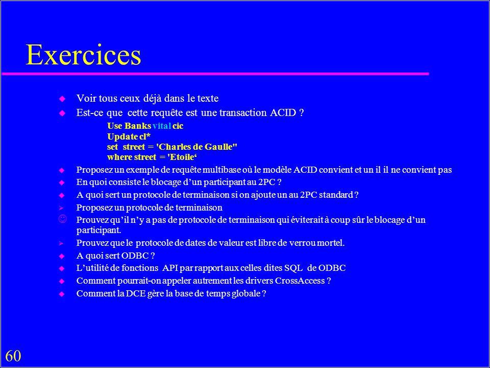 60 Exercices u Voir tous ceux déjà dans le texte u Est-ce que cette requête est une transaction ACID .