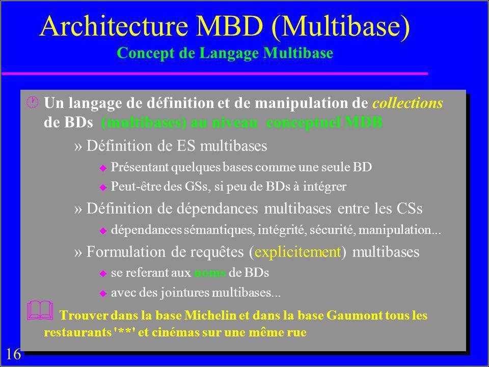 16 Architecture MBD (Multibase) Concept de Langage Multibase ·Un langage de définition et de manipulation de collections de BDs (multibases) au niveau conceptuel MDB »Définition de ES multibases u Présentant quelques bases comme une seule BD u Peut-être des GSs, si peu de BDs à intégrer »Définition de dépendances multibases entre les CSs u dépendances sémantiques, intégrité, sécurité, manipulation...