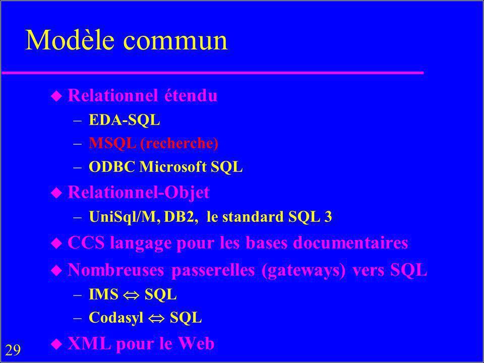29 Modèle commun u Relationnel étendu –EDA-SQL –MSQL (recherche) –ODBC Microsoft SQL u Relationnel-Objet –UniSql/M, DB2, le standard SQL 3 u CCS langage pour les bases documentaires u Nombreuses passerelles (gateways) vers SQL –IMS SQL –Codasyl SQL u XML pour le Web