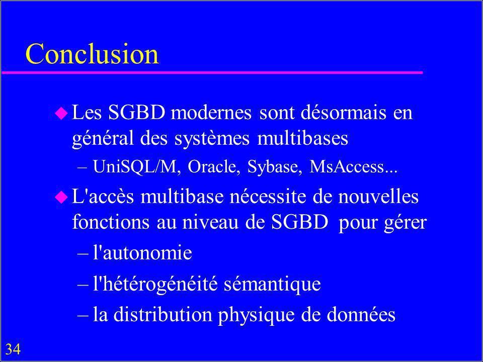 34 Conclusion u Les SGBD modernes sont désormais en général des systèmes multibases –UniSQL/M, Oracle, Sybase, MsAccess... u L'accès multibase nécessi