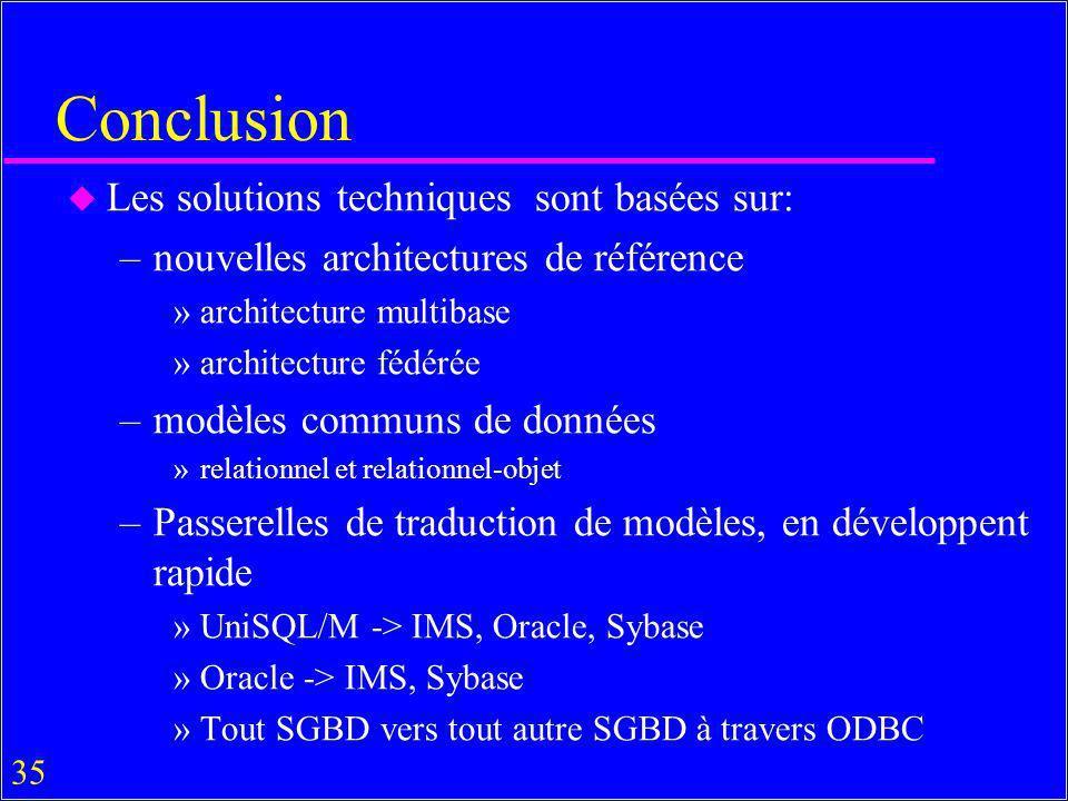 35 Conclusion u Les solutions techniques sont basées sur: –nouvelles architectures de référence »architecture multibase »architecture fédérée –modèles communs de données »relationnel et relationnel-objet –Passerelles de traduction de modèles, en développent rapide »UniSQL/M -> IMS, Oracle, Sybase »Oracle -> IMS, Sybase »Tout SGBD vers tout autre SGBD à travers ODBC