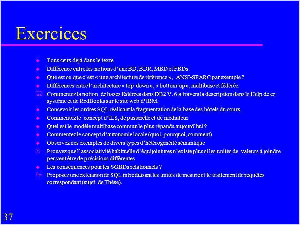 37 Exercices u Tous ceux déjà dans le texte u Différence entre les notions dune BD, BDR, MBD et FBDs. u Que est ce que cest « une architecture de réfé