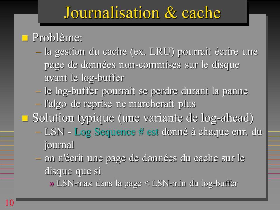 10 Journalisation & cache n Problème: –la gestion du cache (ex.