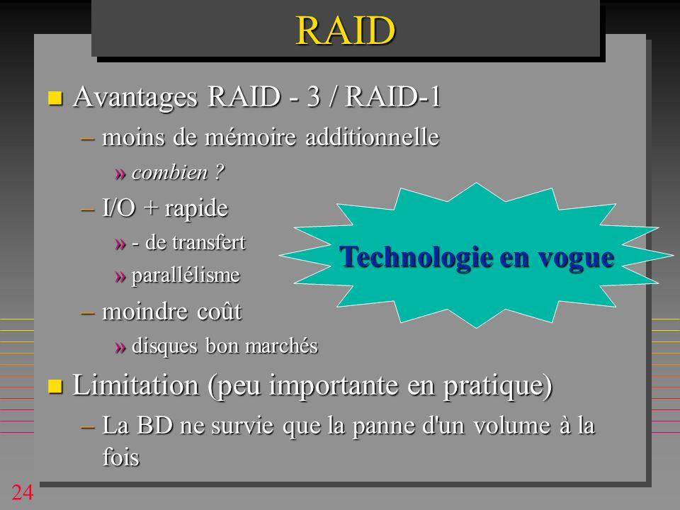 24RAIDRAID n Avantages RAID - 3 / RAID-1 –moins de mémoire additionnelle »combien .