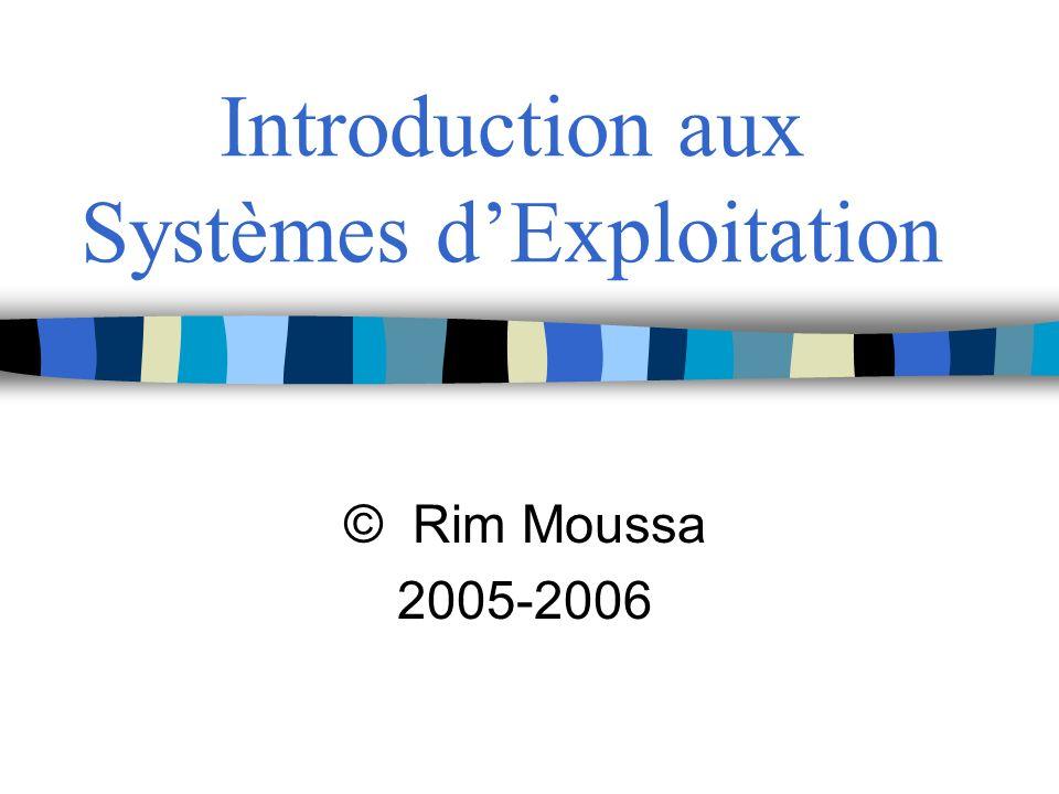 Introduction aux Systèmes dExploitation © Rim Moussa 2005-2006