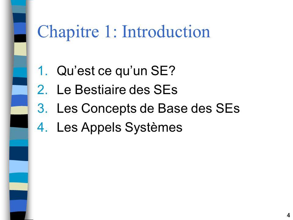 4 Chapitre 1: Introduction 1.Quest ce quun SE? 2.Le Bestiaire des SEs 3.Les Concepts de Base des SEs 4.Les Appels Systèmes