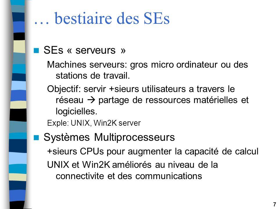 7 … bestiaire des SEs SEs « serveurs » Machines serveurs: gros micro ordinateur ou des stations de travail. Objectif: servir +sieurs utilisateurs a tr