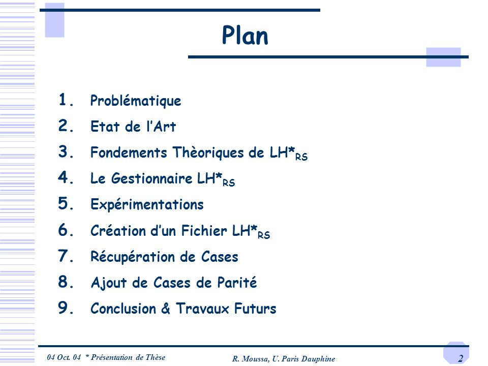 04 Oct. 04 * Présentation de Thèse R. Moussa, U. Paris Dauphine 2 Plan 1. Problématique 2. Etat de lArt 3. Fondements Thèoriques de LH* RS 4. Le Gesti