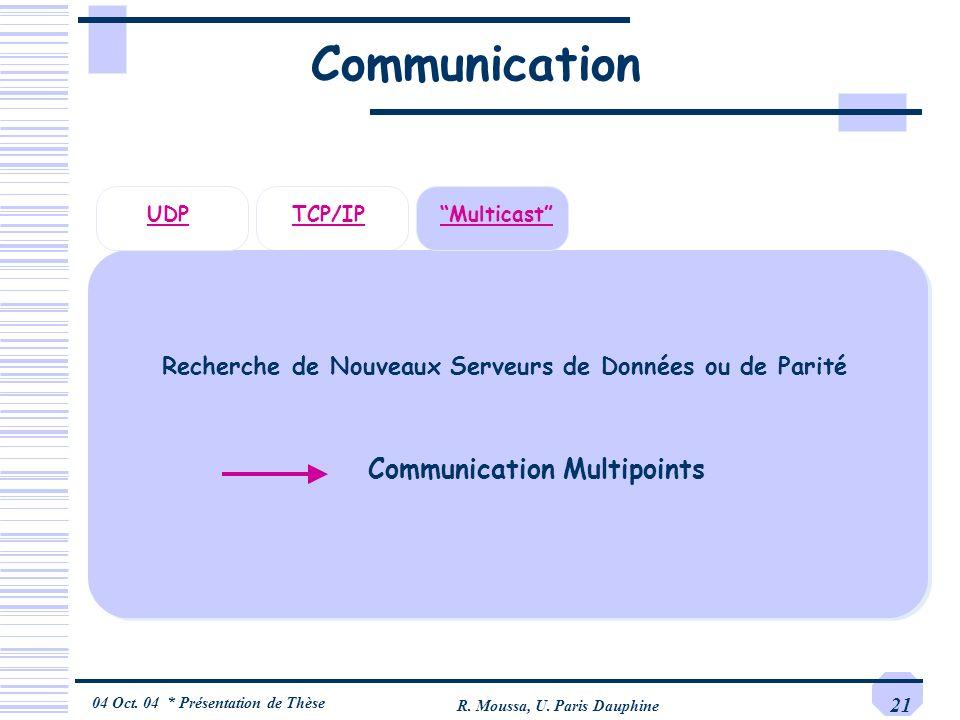 04 Oct. 04 * Présentation de Thèse R. Moussa, U. Paris Dauphine 21 Communication TCP/IPUDPMulticast Recherche de Nouveaux Serveurs de Données ou de Pa