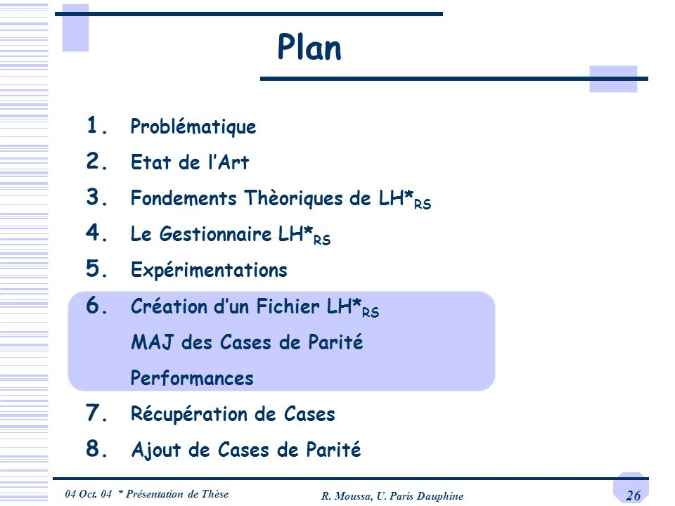 04 Oct. 04 * Présentation de Thèse R. Moussa, U. Paris Dauphine 26 Plan 1. Problématique 2. Etat de lArt 3. Fondements Thèoriques de LH* RS 4. Le Gest