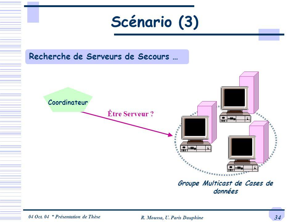 04 Oct. 04 * Présentation de Thèse R. Moussa, U. Paris Dauphine 34 Recherche de Serveurs de Secours … Être Serveur ? Scénario (3) Groupe Multicast de