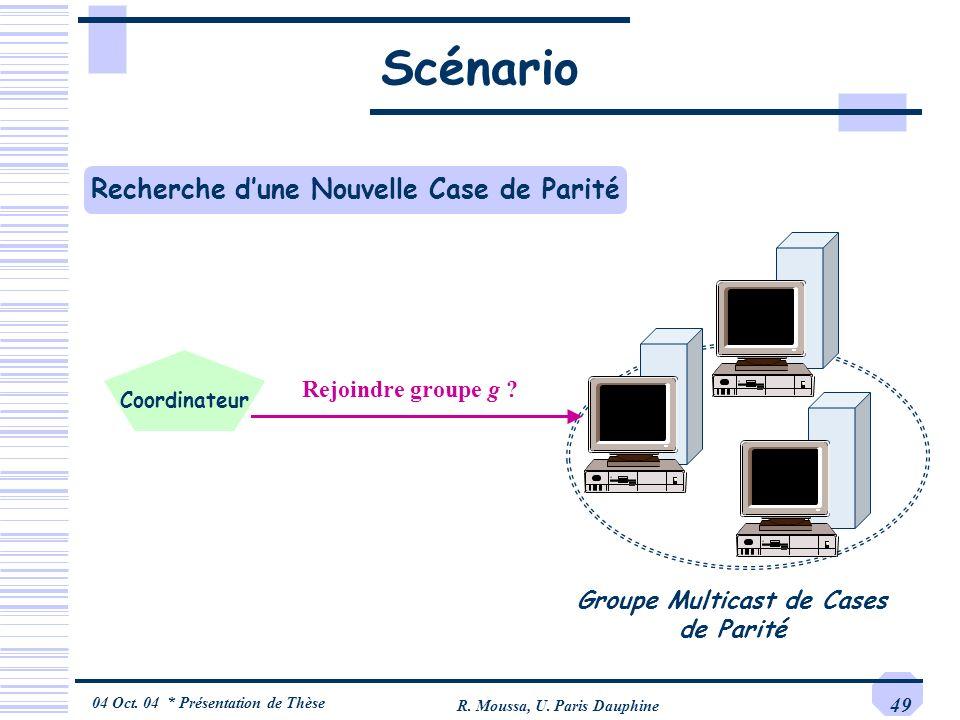 04 Oct. 04 * Présentation de Thèse R. Moussa, U. Paris Dauphine 49 Scénario Groupe Multicast de Cases de Parité Rejoindre groupe g ? Recherche dune No