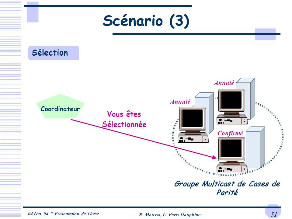 04 Oct. 04 * Présentation de Thèse R. Moussa, U. Paris Dauphine 51 Scénario (3) Vous êtes Sélectionnée Confirmé Annulé Sélection Groupe Multicast de C