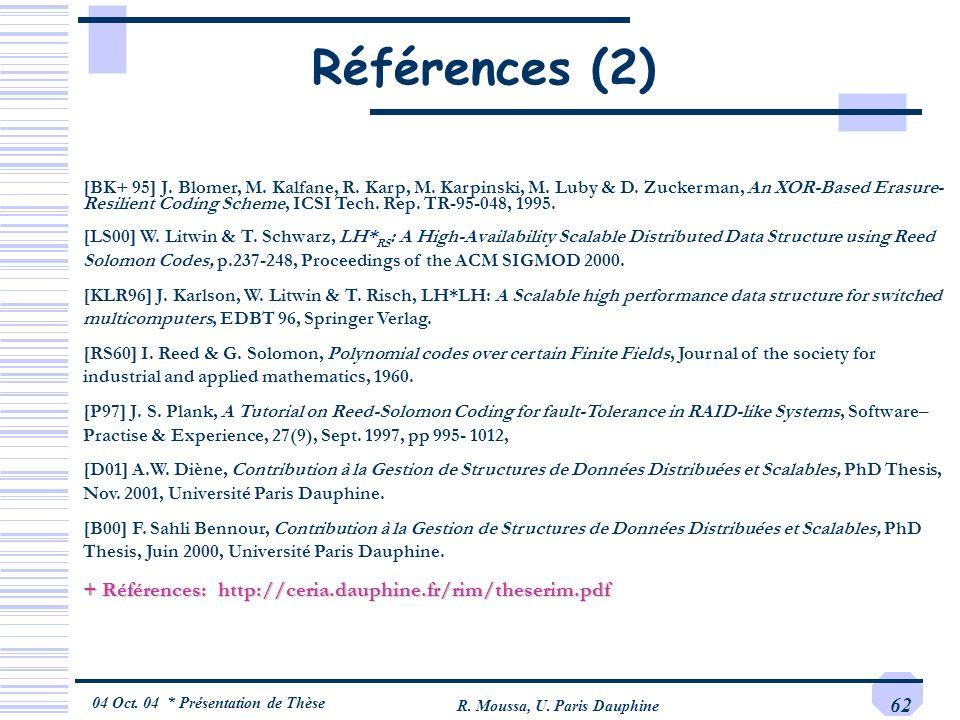 04 Oct. 04 * Présentation de Thèse R. Moussa, U. Paris Dauphine 62 Références (2) [BK+ 95] J. Blomer, M. Kalfane, R. Karp, M. Karpinski, M. Luby & D.