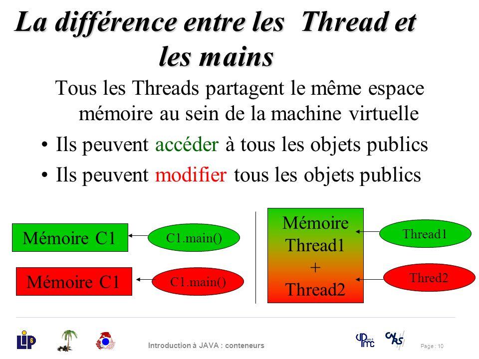 Page : 10 Introduction à JAVA : conteneurs Tous les Threads partagent le même espace mémoire au sein de la machine virtuelle Ils peuvent accéder à tou
