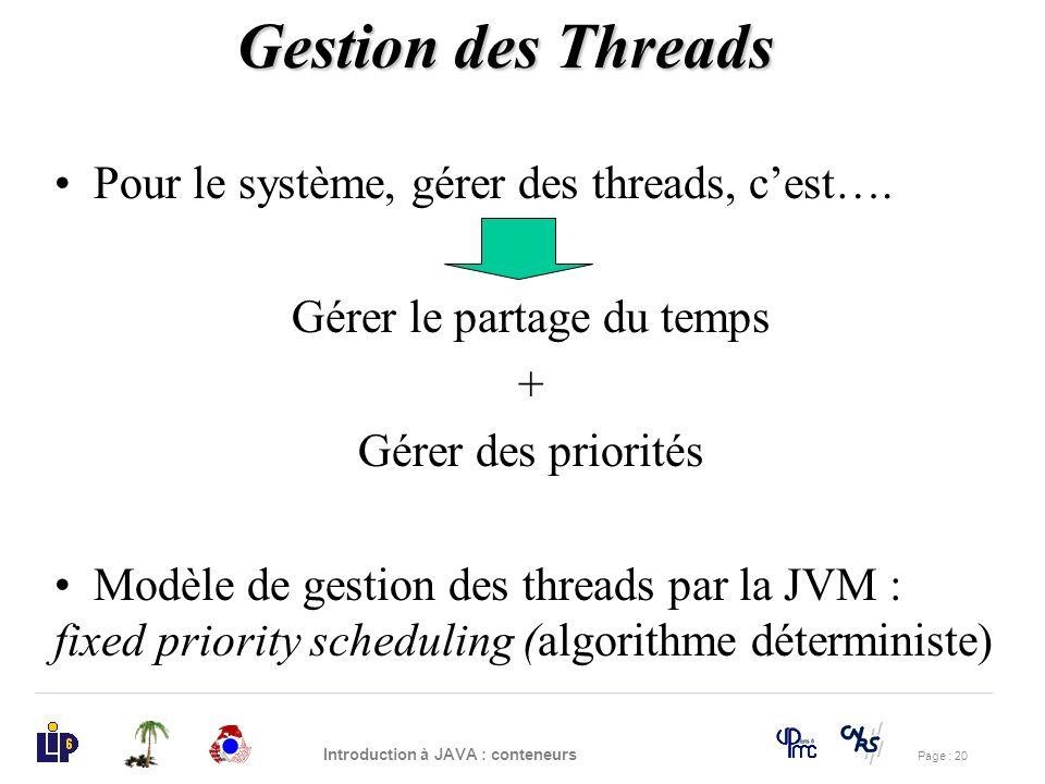 Page : 20 Introduction à JAVA : conteneurs Pour le système, gérer des threads, cest…. Gérer le partage du temps + Gérer des priorités Modèle de gestio