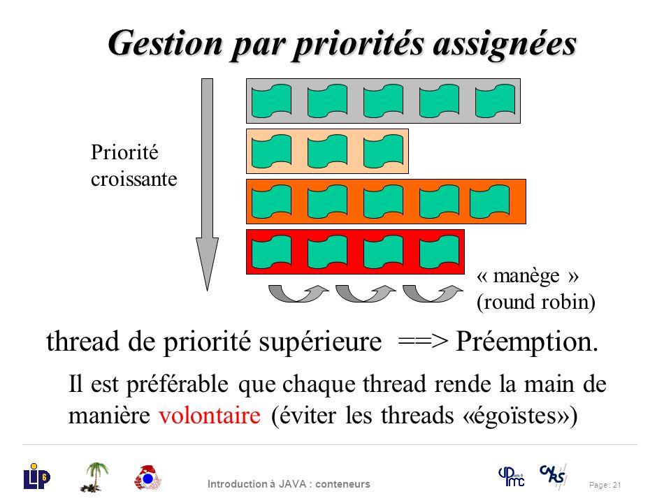 Page : 21 Introduction à JAVA : conteneurs Gestion par priorités assignées Priorité croissante thread de priorité supérieure ==> Préemption. « manège