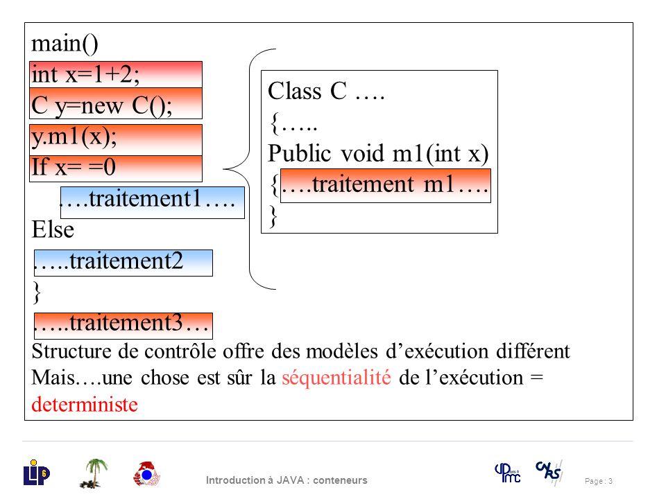 Page : 4 Introduction à JAVA : conteneurs La notion de parallélisme Public Class C1{ Public static void main() {SOP(« je suis c1 »); SOP(« je suis c1 bis »); } Public Class C2{ Public static void main() {SOP(« je suis c2 »); SOP(« je suis c2 bis »); } Public class test{ Public static void main() { C1.main(); C2.main(); } Question: Quel sera laffichage?