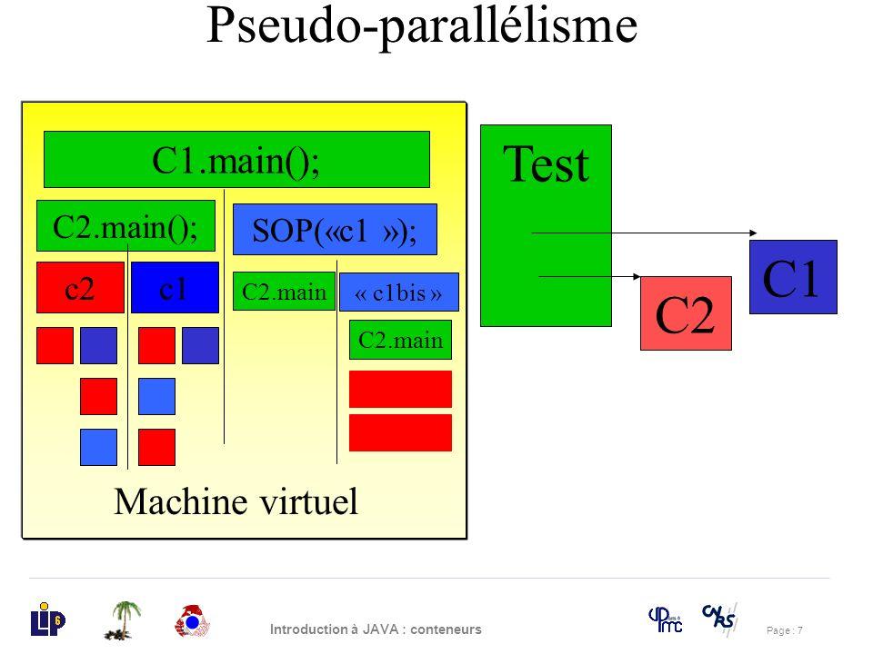 Page : 38 Introduction à JAVA : conteneurs class Drapeau { boolean vert; Drapeau(){vert=true;} boolean get(boolean couleur){ while (couleur!=vert){ try{wait();}catch(Exception e){} } return true; } voit set(boolean couleur){ curval=couleur; notify(); } Solution Exercice 2 (1)