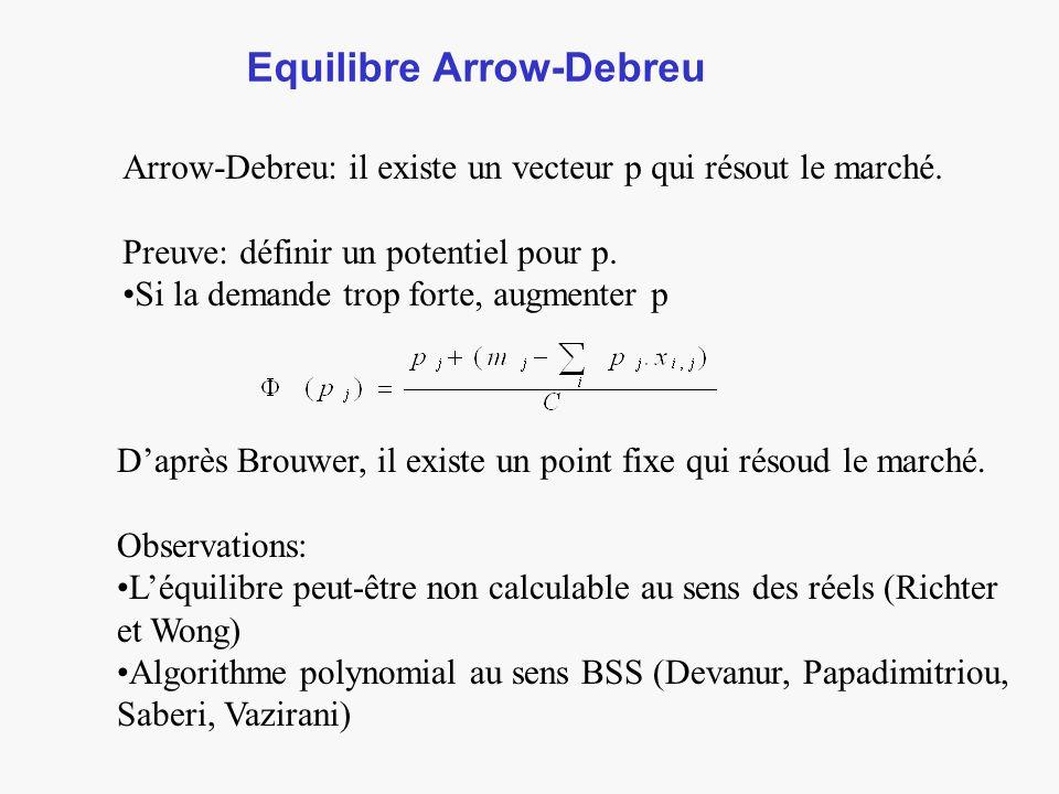Equilibre Arrow-Debreu Arrow-Debreu: il existe un vecteur p qui résout le marché.