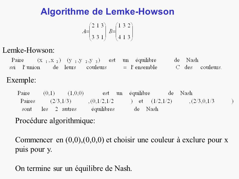 Algorithme de Lemke-Howson Lemke-Howson: Exemple: Procédure algorithmique: Commencer en (0,0),(0,0,0) et choisir une couleur à exclure pour x puis pour y.