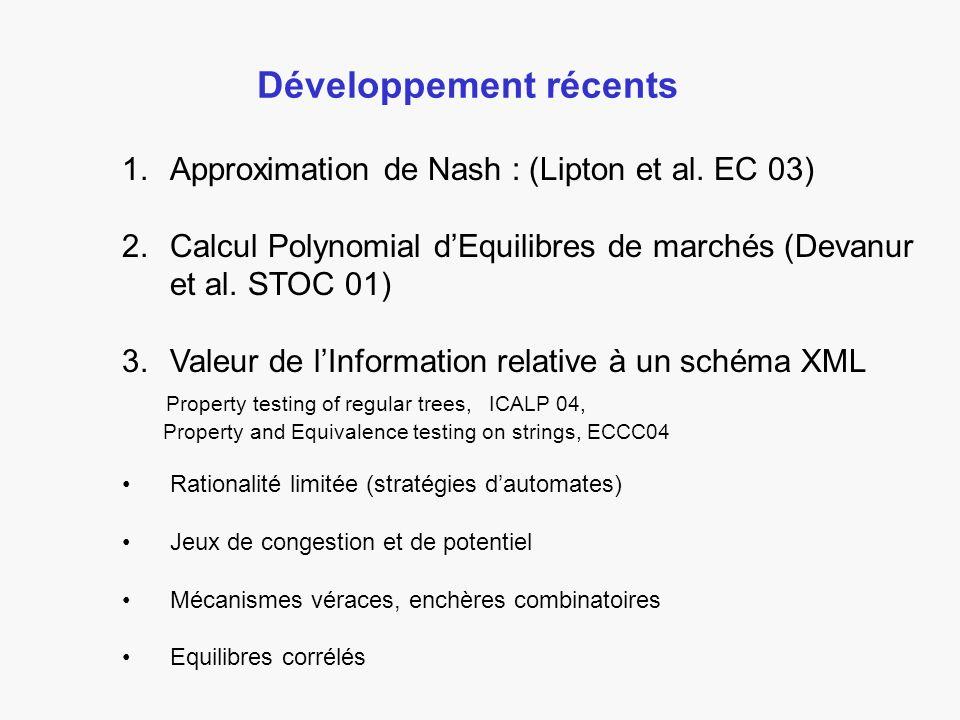 Développement récents 1.Approximation de Nash : (Lipton et al.
