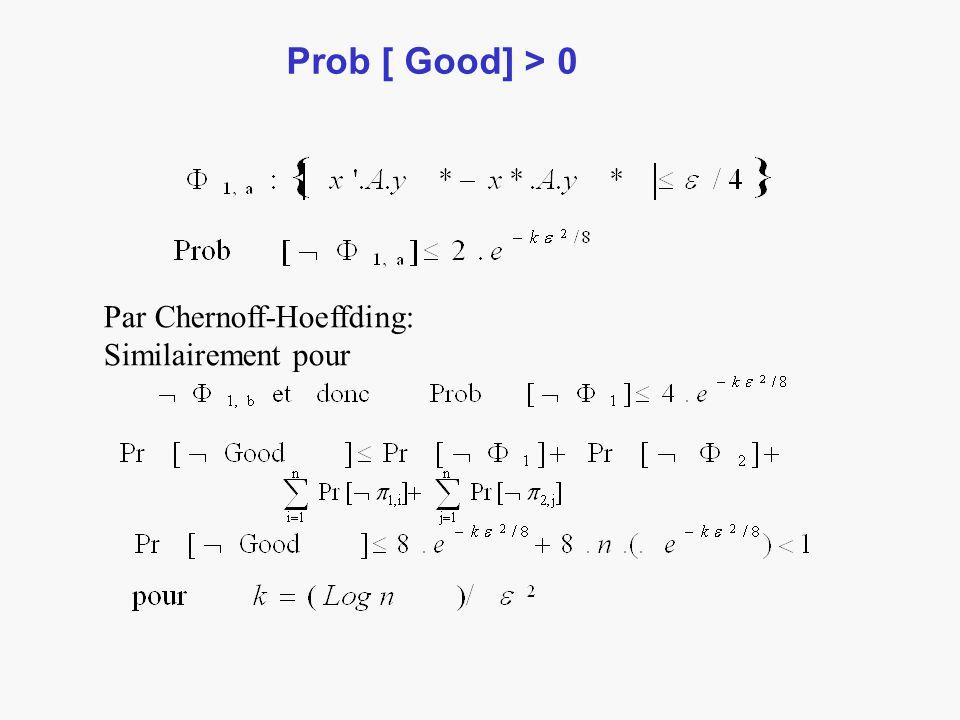 Prob [ Good] > 0 Par Chernoff-Hoeffding: Similairement pour