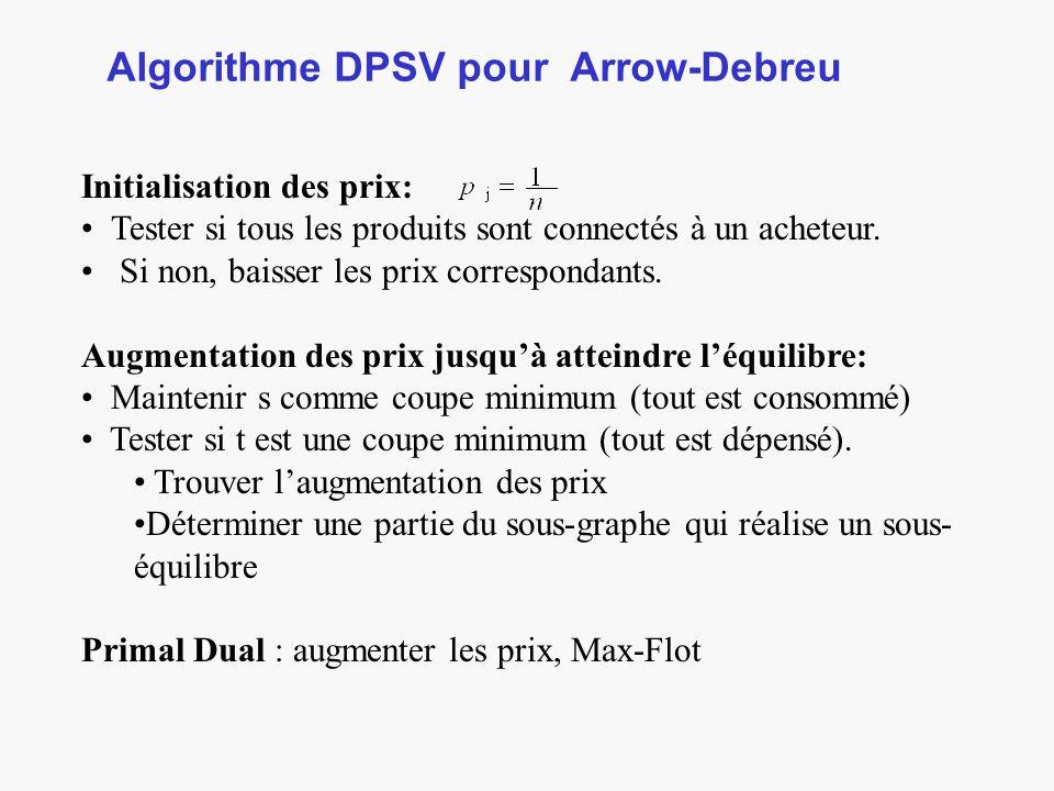 Algorithme DPSV pour Arrow-Debreu Initialisation des prix: Tester si tous les produits sont connectés à un acheteur.