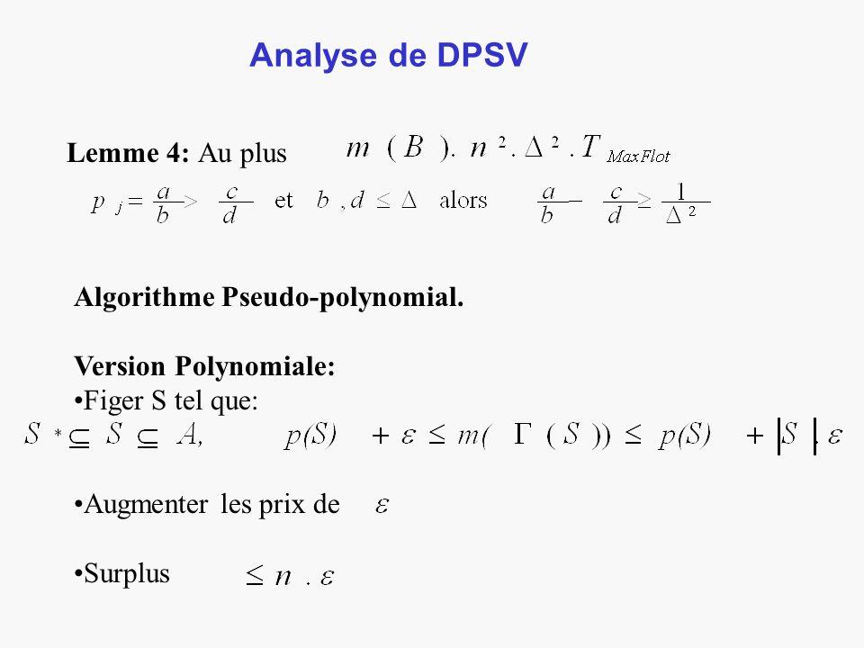 Analyse de DPSV Lemme 4: Au plus Algorithme Pseudo-polynomial.