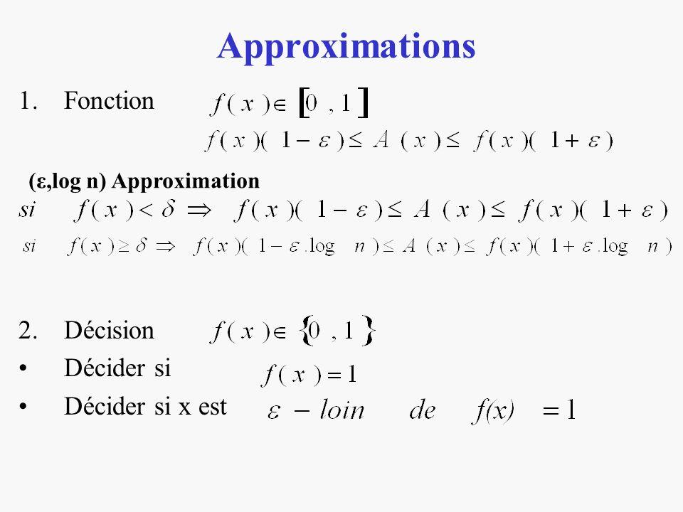 Approximations 1.Fonction 2.Décision Décider si Décider si x est (ε,log n) Approximation