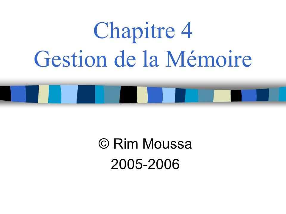 Chapitre 4 Gestion de la Mémoire © Rim Moussa 2005-2006