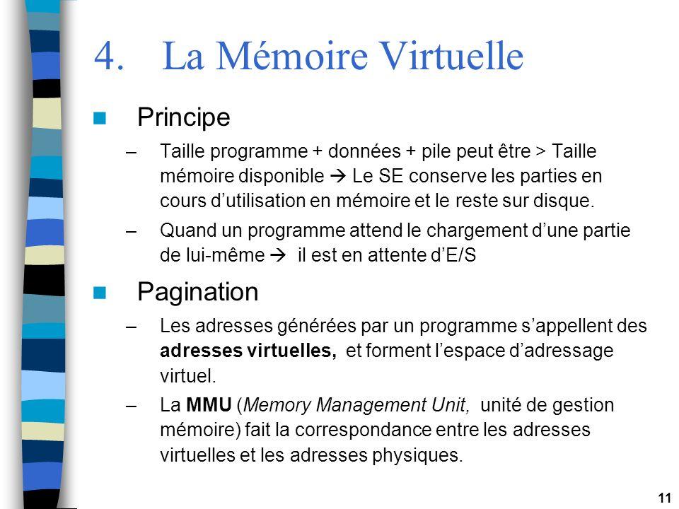 11 4.La Mémoire Virtuelle Principe –Taille programme + données + pile peut être > Taille mémoire disponible Le SE conserve les parties en cours dutili