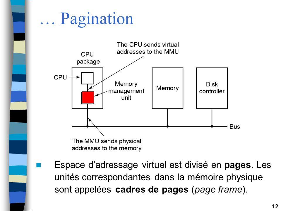 12 … Pagination Espace dadressage virtuel est divisé en pages. Les unités correspondantes dans la mémoire physique sont appelées cadres de pages (page