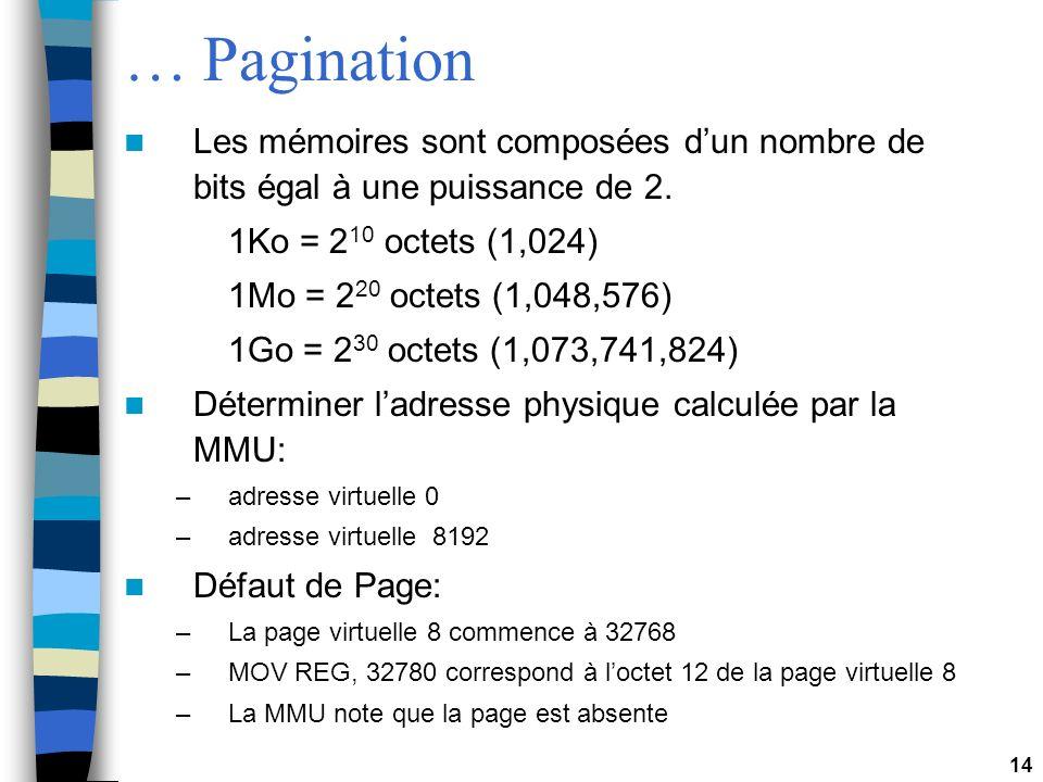 14 … Pagination Les mémoires sont composées dun nombre de bits égal à une puissance de 2. 1Ko = 2 10 octets (1,024) 1Mo = 2 20 octets (1,048,576) 1Go
