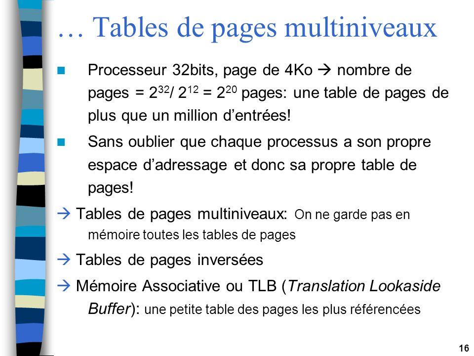 16 … Tables de pages multiniveaux Processeur 32bits, page de 4Ko nombre de pages = 2 32 / 2 12 = 2 20 pages: une table de pages de plus que un million