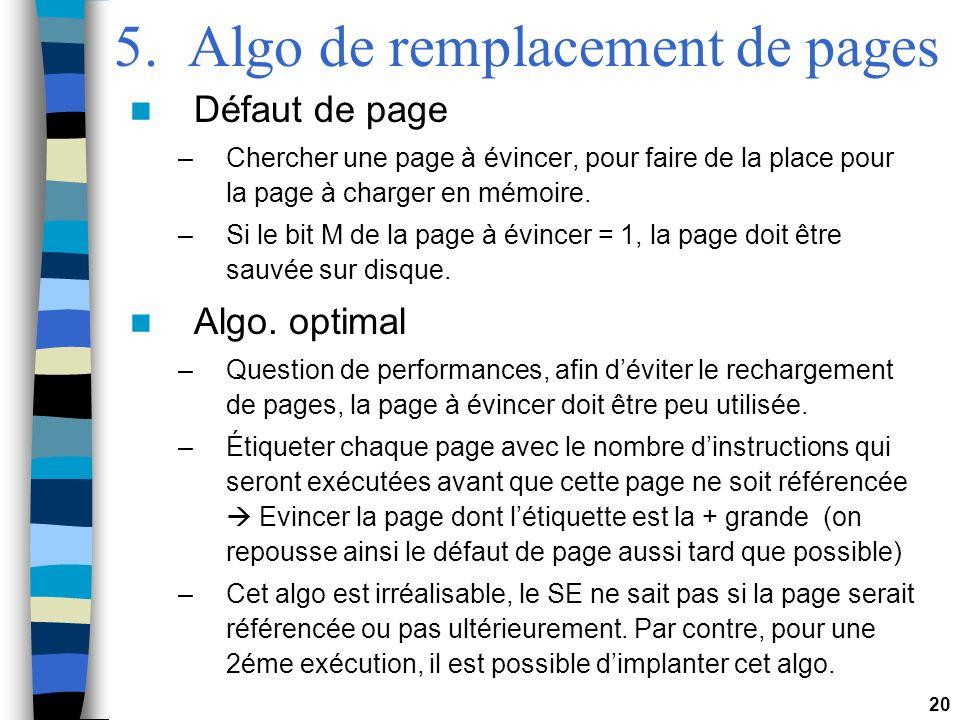 20 5. Algo de remplacement de pages Défaut de page –Chercher une page à évincer, pour faire de la place pour la page à charger en mémoire. –Si le bit