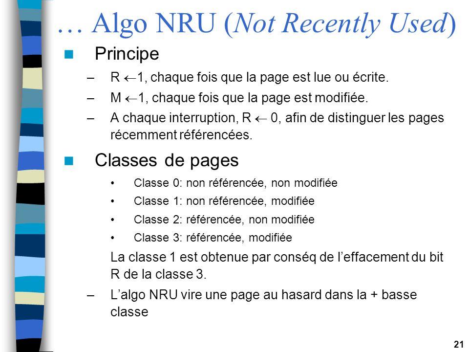 21 … Algo NRU (Not Recently Used) Principe –R 1, chaque fois que la page est lue ou écrite. –M 1, chaque fois que la page est modifiée. –A chaque inte