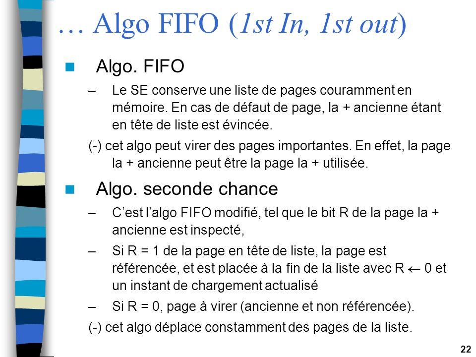 22 … Algo FIFO (1st In, 1st out) Algo. FIFO –Le SE conserve une liste de pages couramment en mémoire. En cas de défaut de page, la + ancienne étant en