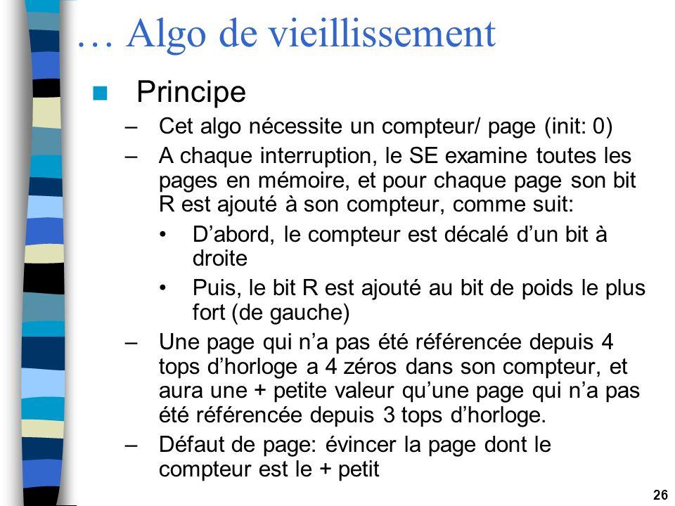 26 … Algo de vieillissement Principe –Cet algo nécessite un compteur/ page (init: 0) –A chaque interruption, le SE examine toutes les pages en mémoire