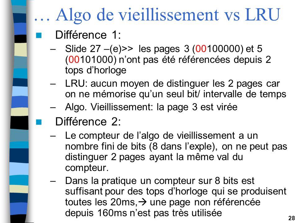 28 … Algo de vieillissement vs LRU Différence 1: –Slide 27 –(e)>> les pages 3 (00100000) et 5 (00101000) nont pas été référencées depuis 2 tops dhorlo