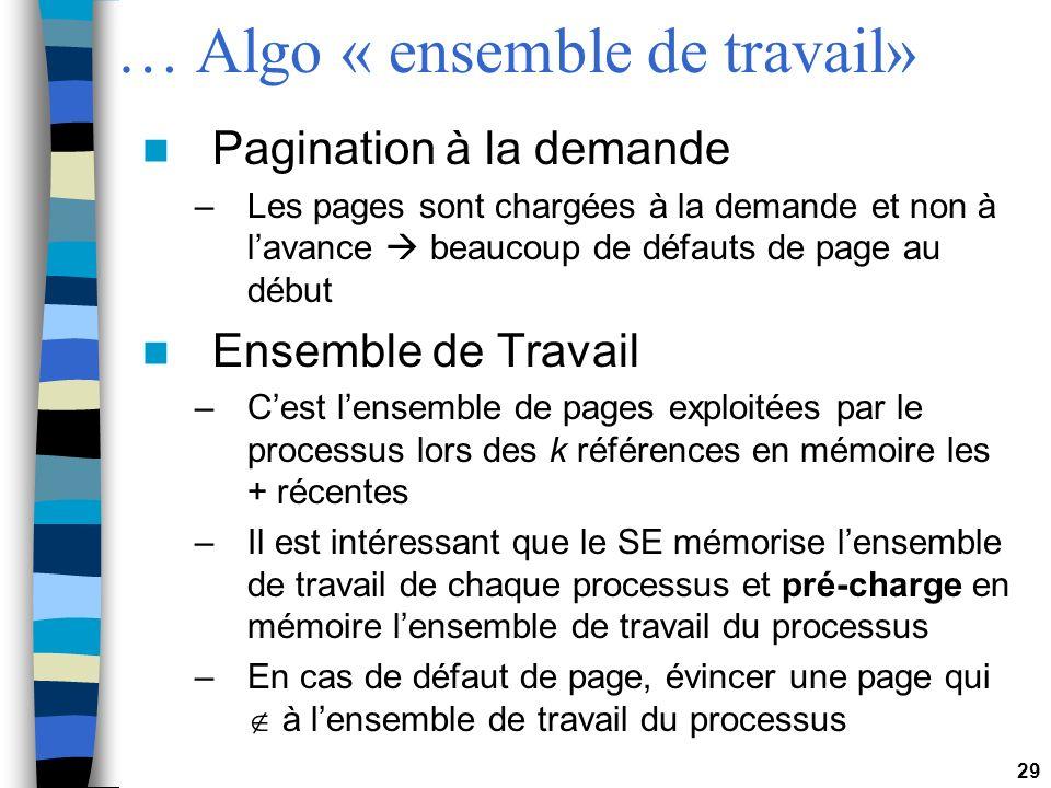 29 … Algo « ensemble de travail» Pagination à la demande –Les pages sont chargées à la demande et non à lavance beaucoup de défauts de page au début E