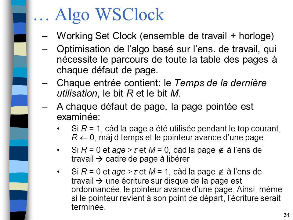 31 … Algo WSClock –Working Set Clock (ensemble de travail + horloge) –Optimisation de lalgo basé sur lens. de travail, qui nécessite le parcours de to