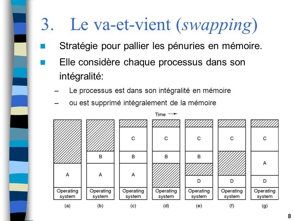 8 3.Le va-et-vient (swapping) Stratégie pour pallier les pénuries en mémoire. Elle considère chaque processus dans son intégralité: –Le processus est