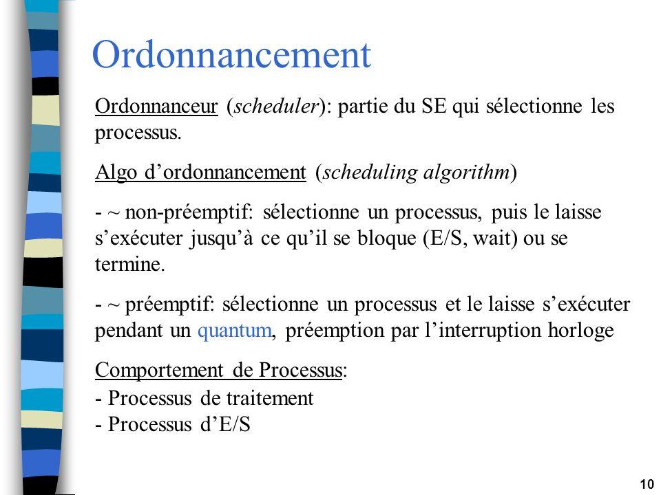 10 Ordonnancement Ordonnanceur (scheduler): partie du SE qui sélectionne les processus. Algo dordonnancement (scheduling algorithm) - ~ non-préemptif: